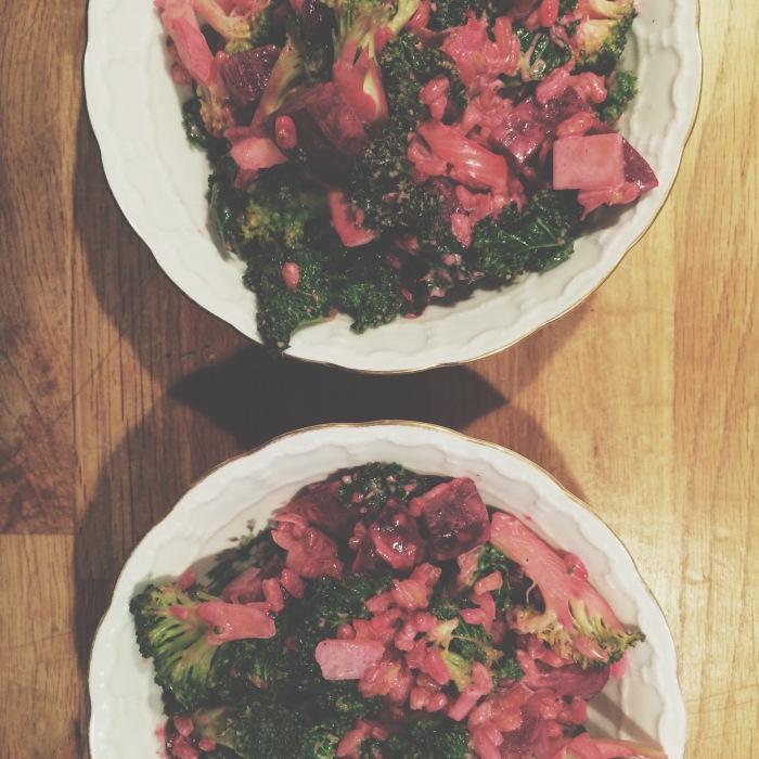 Speltkorn med grønnkål